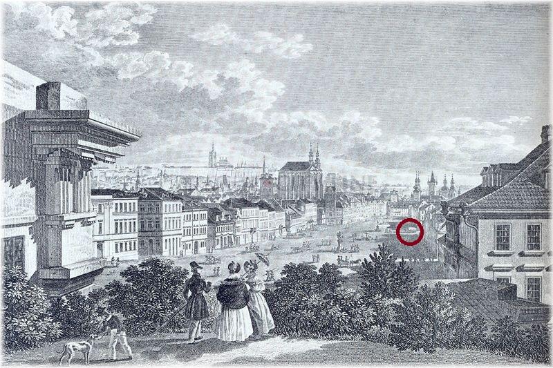 Koňský trh v roce 1830 - v místě kroužku stávala pravděpodobně Bouda
